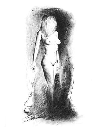 Charcoal Figure Drawing Art Print of Standing Female Model