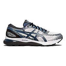 ASICS Men's Gel-Nimbus 21 Running Shoes, 7M, White/DEEP Sapphire