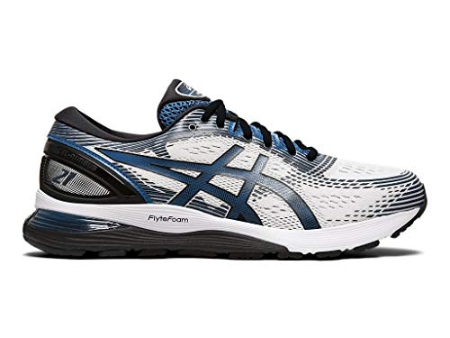 ASICS Men's Gel-Nimbus 21 Running Shoes, 10M, White/DEEP Sapphire