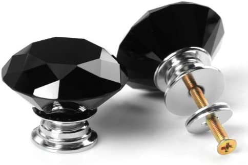 Revesun 40mm Black Crystal Glass Diamond Shaped Door Knob Cabinet Cupboard  Pull Drawer Handle Kitchen Wardrobe Home Hardware Come With Screw 1PCS ...