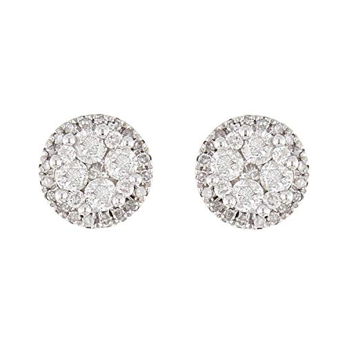 10K White Gold Round Diamond Stud Earrings with Friction Back (1.40 cttw, I-J Color, I1-I2 Clarity)