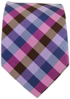 The Tie Bar 100% Woven Silk Dashing Colorful Gingham Plaid 2 1/2 Inch Skinny Tie