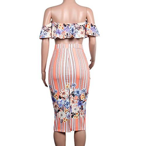 Minisoya Women Floral Strapless Ruffle Bandeau Crop Tops Striped Bodycon Maxi Skirt Cocktail Party Club Two Piece Set (Pink, XX-Large) by Minisoya (Image #5)