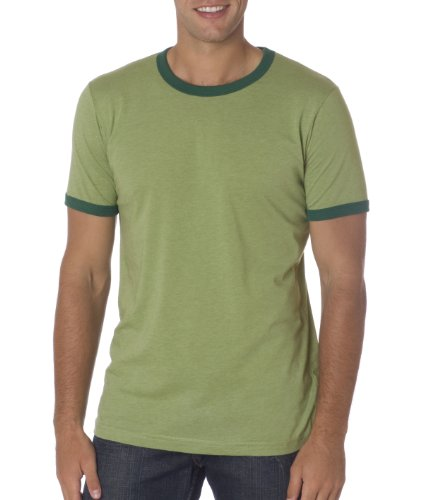 Bella 3055 Mens Jersey Short Sleeve Ringer Tee - Heather Green & Forest, Large