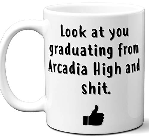 Arcadia High Graduation Gift. Cocoa, Coffee Mug Cup. Student High School Grad Idea Teen Graduates Boys Girls Him Her Class. Funny Congratulations. 11 oz.