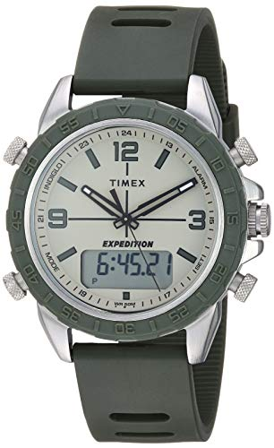 Timex Men's TW4B17000 Expedition Pioneer Combo 41mm Green/Black/Natural Silicone Strap Watch
