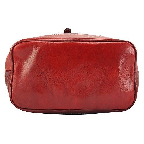 Zaino Unisex pratico in vera pelle lucida 6560 Borse in pelle rosso