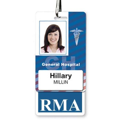 RMA Vertical Badge Buddy with Blue Border by Specialist ID, Sold Individually