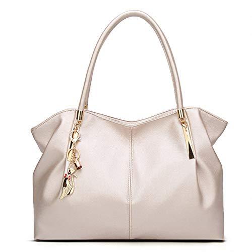 (Fashion Leather Handbags Luxury Lady Women Messenger Hand Bags Big Tote pearl white)