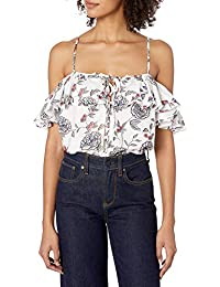 Women's Front Lace Up Cold Shoulder Ruffle Top