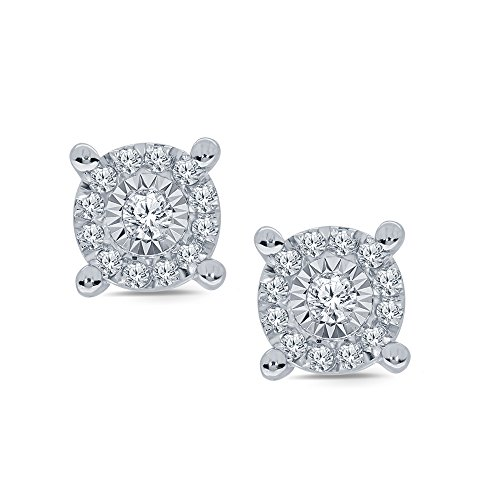 Diamond Earrings Cluster Silver (La Joya 1/5ct Round White Diamond Miracle Plate Sterling Silver Cluster Stud Earring)