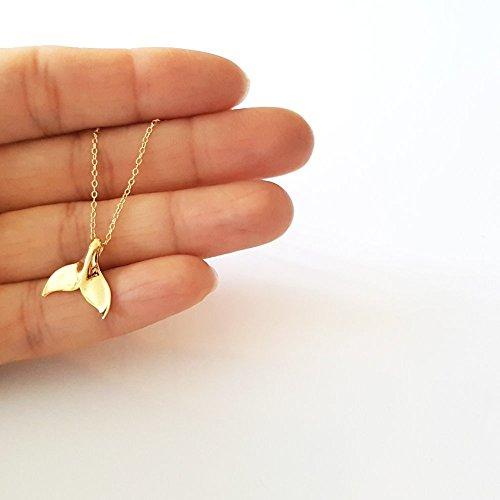 Vermeil Pendant - Gold Vermeil Whale Tail Pendant Necklace