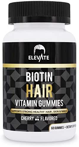 ELEVATE Biotin Vitamin Cherry Gummies for Hair Growth 5000 mcg - Grow Healthy Strong & Thicker Hair, Skin & Nails - Extra Strength for Men & Women - Non-GMO Pectin-Based - Made in USA 100% Natural