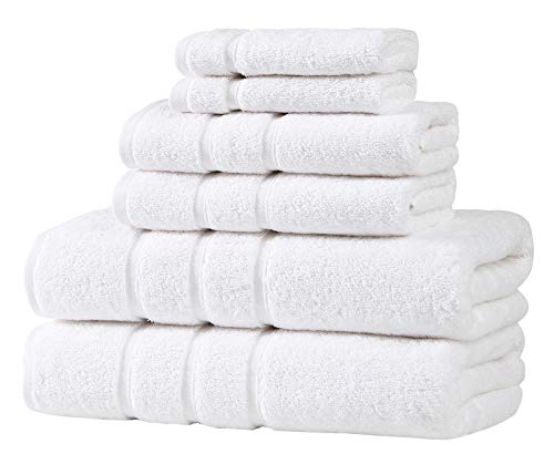 Hobby Home Collection White Bathroom Towel Set - 2 Bath Towels, 2 Hand Towels, and 2 Wash Cloths - Turkish Towel for Bathroom - Soft Towels - Luxury Bathroom Set of 4-100% Cotton Towels