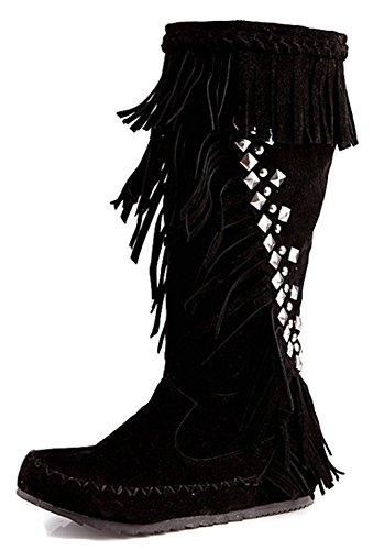 Aisun Womens Fringed Studded Round Toe Dressy Pull On height Low Heel Under The Knee High Boots With Fringe Black pPITFb