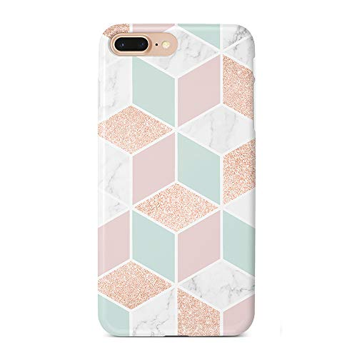 uCOLOR Case Compatible with iPhone iPhone 8 Plus/7 Plus/6S Plus/6 Plus Rose Gold Sparkle Green White Marble Durable Soft TPU Silicone Shockproof Cover