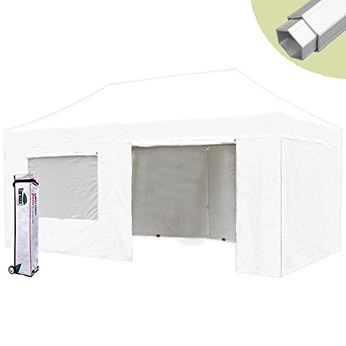 Eurmax PRO 10 X 20 Ez Pop up Canopy Tent Commercial Canopy Gazebo with Full Walls and Roller Bag, White