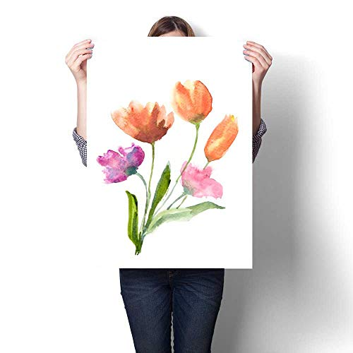 (Anshesix Wall Paintings Beautiful Tulip Flowers on White Modern Wall Art for Living Room Decoration 32