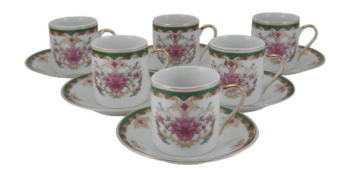 Holsted House Demitasse Cup with Saucer, Pink Flower Pattern with Green & Gold Trim Porcelain Espresso (6)
