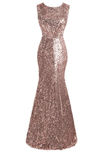 topdress womens mermaid long bridesmaid dress sequins wedding party prom gown rose gold us 14