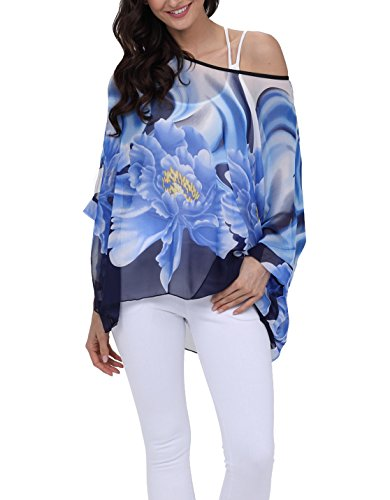 iNewbetter Womens Chiffon Poncho Tops Stylish Floral Batwing Sleeve Soft Flowy Blouse Funny Tunic Tops 296 One Size ()