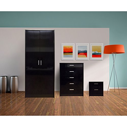 3 Piece Trio High Gloss Black With Black Oak Frame Bedroom Furniture  Package Set Double Wardrobe