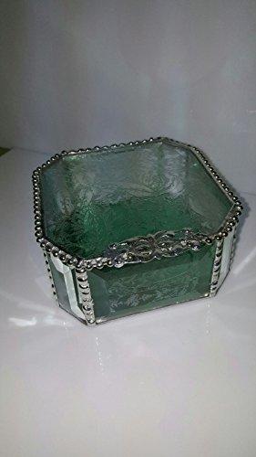 (Seafoam Green Glue Chip Beveled Octagon Stained Glass Jewelry Box, Hand Beaded , Decorative Closure, Ring Box, Keepsake Box, Trinket Box, 4