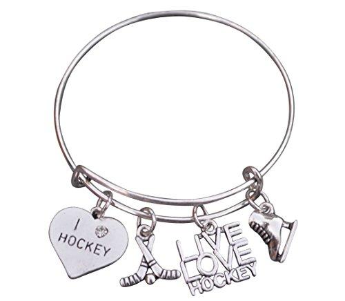 (Infinity Collection Hockey Bracelet, Hockey Jewelry- Hockey Bangle Bracelet for Hockey Players)