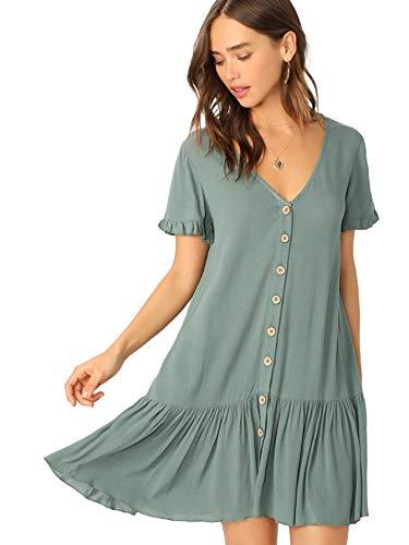(Floerns Women's V Neck Short Sleeve Button Front Ruffle Hem Dress Green XS)