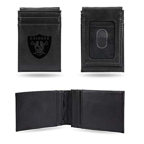 (Rico Industries NFL Oakland Raiders Laser Engraved Front Pocket Wallet, Black, 3.5 x 5-inches)