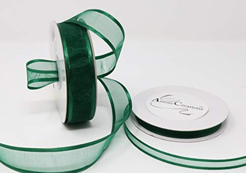 Hunter Green Organza Ribbon With Satin Edge-25 Yards X 3/8 Inches