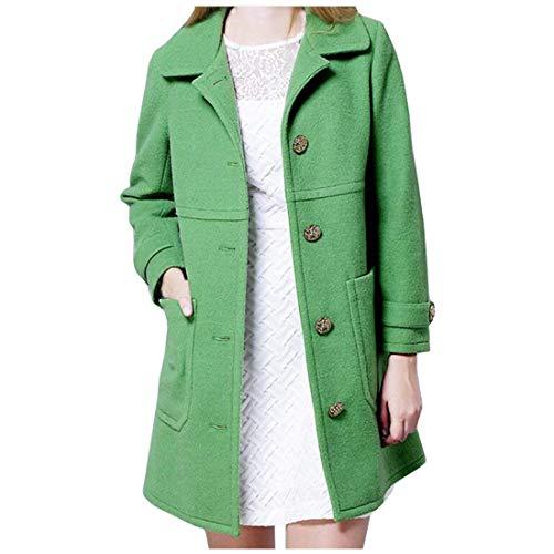 Fit Unicolore Longues Costume Slim Warm Outerwear Hiver Avec Automne Elégante Revers Vintage Mode Jacken Vêtements Manches D'extérieur Femme Coat Grün Manteau Poches xYqP6wA6n