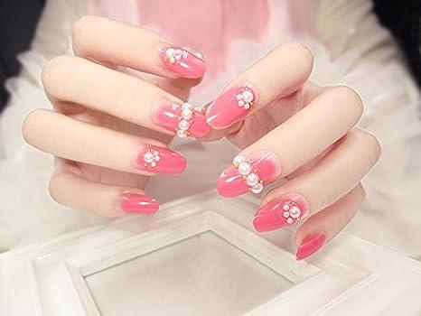 24 Unids / set Oval Falso Uñas Falsa Consejos de Uñas Manicura Francesa Bonitos Diseños de Uñas: Amazon.es: Belleza