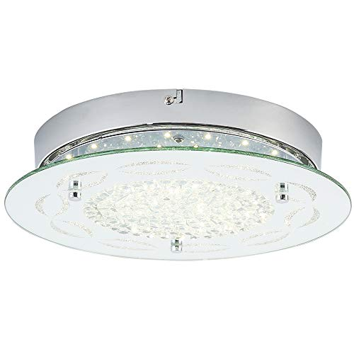 Auffel Ceiling Light,Minimalist Dimmable LED Light Source Flush Mount Light Fixtures Glass+K9 Crystal+Metal Chandelier,11-Inch 1320ML 4000K Neutral Light White Pendant Lighting for Kitchen,Hallway