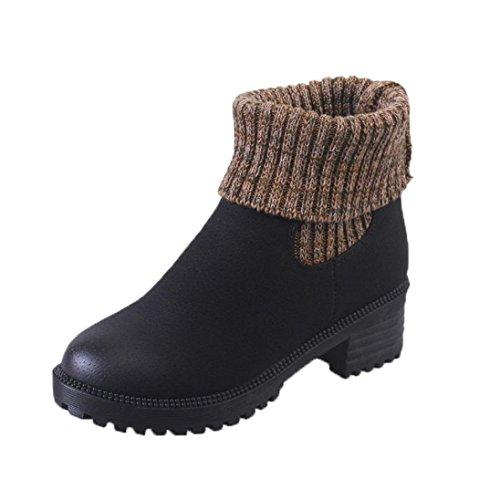 TPulling Herbst Und Winter Schuhe Mode Damen Wollstiefel Mit Dicken Stiefeln Mit Elastischen Stiefeln Wärme Outdoor Booties Ankle Lässige Schuhe Martin Stiefe 36