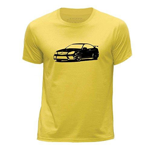 STUFF4 Boy's Age 12-14 (152-164cm) Yellow Round Neck T-Shirt/Stencil Car Art / C 63 Coupé - Yellow C Round 13