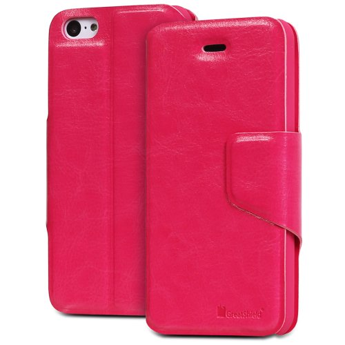 GreatShield SHIFT LX Leather Wallet Case with Card Slots for Apple iPhone 5C (Pink)