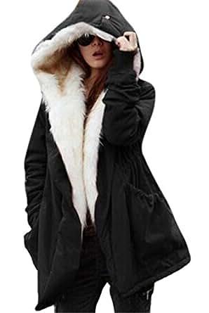Amazon.com: Women's Long Hooded Parka Pea Coat Thicked