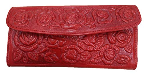 (Sharpshooter Ladies Tooled Leather Western Blossoming Roses Trifold Wallet (RED))