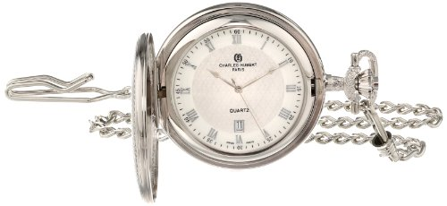 Date Silver Pocket Watch - Charles-Hubert, Paris Quartz Pocket Watch