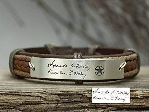 - Memorial Signature Bracelet Handwriting, US Army Star Engraved Men, Custom Logo, Personalized Leather Wrist Band