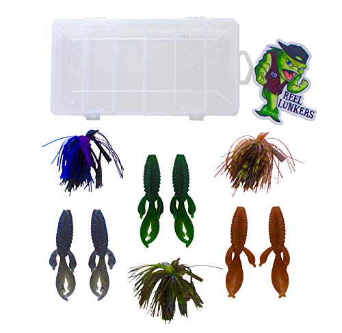 Bass Fishing Jigs - Reel Lunkers Flippin Jig & Trailer Combo - 3 Hand Tied Bass Jigs w/ 6 Matching Soft Plasitcs, Bait Box, Sticker