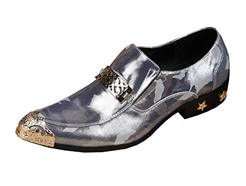 EU41 SHOES Men's Genuine Leather Metal Pointed Toe Rock Singer Casual Bar Dress Wedding Metal Toe For Formal,Business,Wedding,Casual,Office,Party,Size 37 To 46
