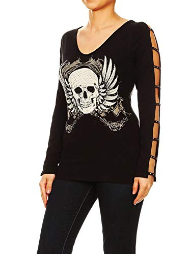 Funfash 953 Women Plus Size Black Long Sleeve V Neck Gothic Skull Shirt 3X 22 24