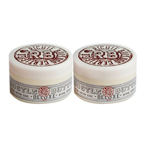 Hustle Butter Deluxe - Tattoo Butter for Before, During, and After the Tattoo Process - Lubricates and Moisturizes - 100% Vegan Replacement for Petroleum-Based Products - 5 oz (2 Pack)