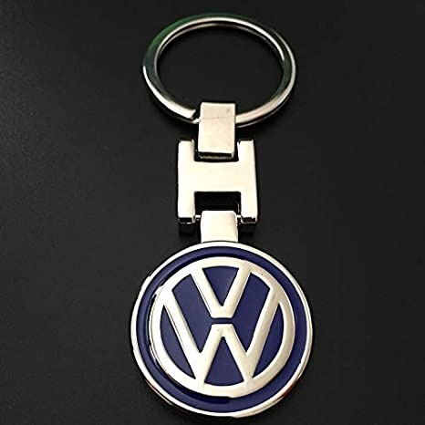 ESMPRO for VW Volkswagen Metal Rond Blue Keychain Key Ring 3D H Metal Key Chain Keyring Double Side
