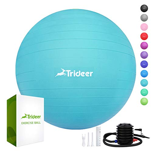 (Trideer 45-85cm Exercise Ball, Birthing Ball, Yoga Pilate Fitness Balance Ball with Pump Plug Kit, Anti-Slip & Anti-Burst, 2000lbs Extra Thick Core Cross Training Ball (Turkis, 75Ccm))