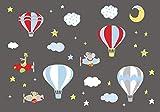 Nursery Wall Decals- Hot Air Balloon Decals - Balloon Stickers - Red Balloon Stickers - Baby Room Decals - Cloud Wall Decals - Sky Decals - Baby Room Stuff - Kids Ideas - Baby Shower Gift - Decals