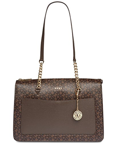 DKNY Bryant Signature Large Zip Tote (Brown) Dkny Charm