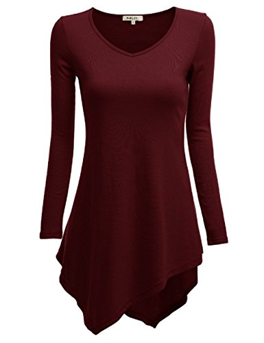 Curvylicious Women's Plus Size 3/4 Sleeve Round Neck Tunic Top – X-Large, Burgundy